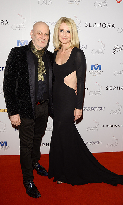 Actress Kelly Rowan in Stephan Caras with the designer. 