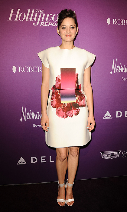 Marion Cotillard attended The Hollywood Reporter's annual Academy Awards Nominees Luncheon in a two-piece, screen-printed Carolina Herrera dress and Nicholas Kirkwood sandals.