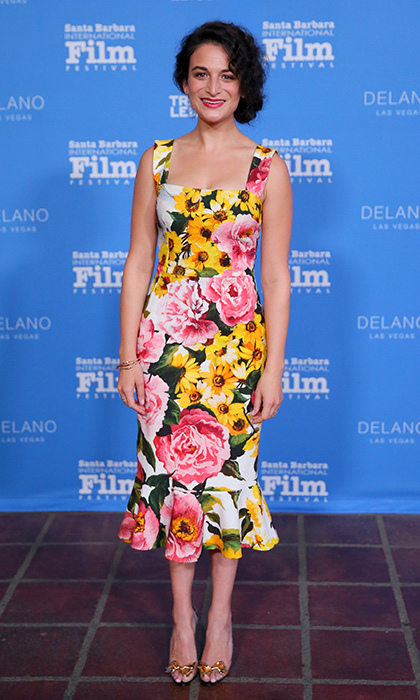 Actress Jenny Slate was coming up roses as she scooped up a Virtuosos Award in Santa Barbara in a summery Dolce & Gabbana dress with ruffled hem, plus Christian Louboutin pumps.