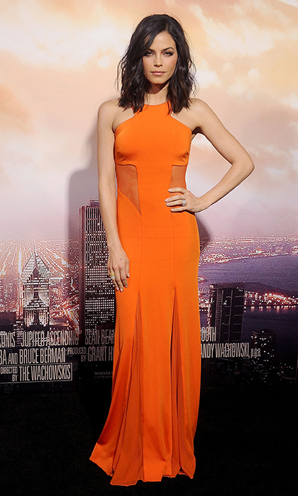 Jenna Dewan-Tatum wowed in an orange Cushnie et Ochs gown with semi-sheer panelling and Kimberly McDonald jewels.