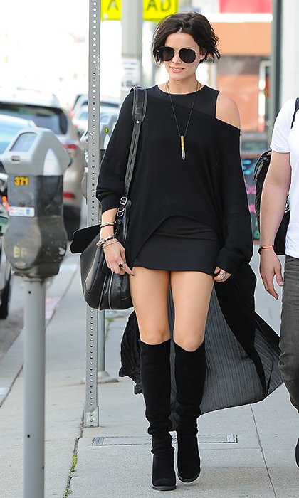 Jaimie Alexander stepped out on the streets of L.A. in head-to-toe black featuring a mini dress, oversized topper and Stuart Weitzman's 'Demiswoon' boots.