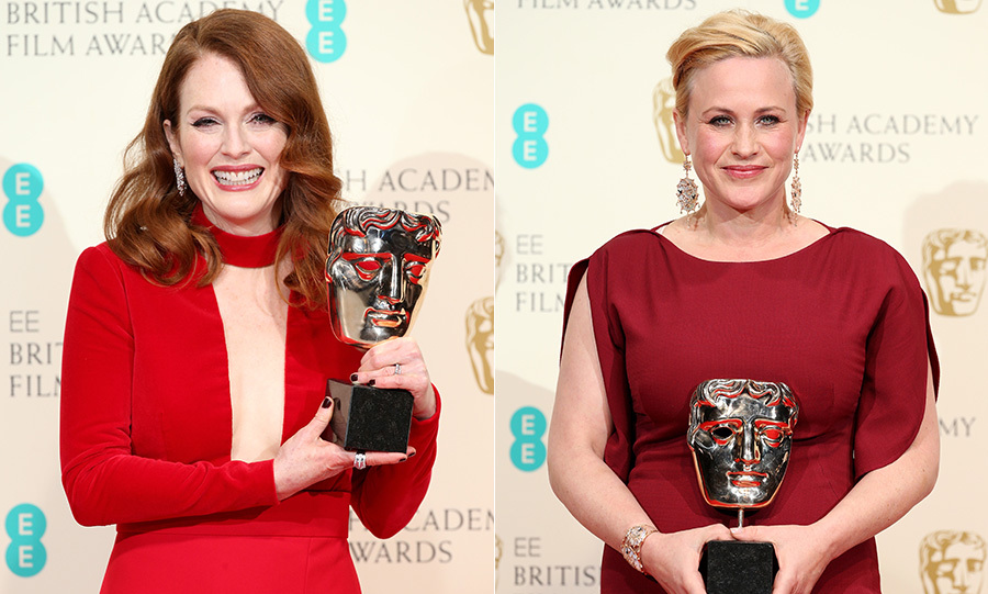 Julianne Moore and Patricia Arquette both continued their awards season success on Sunday evening. Julianne was named Leading Actress for her role in Still Alice, while Patricia took the Supporting Actress gong for her performance in Boyhood.