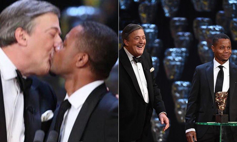 Stephen Fry and Cuba Gooding Jr shared a smooch on stage when the actor presented the Supporting Actress award.