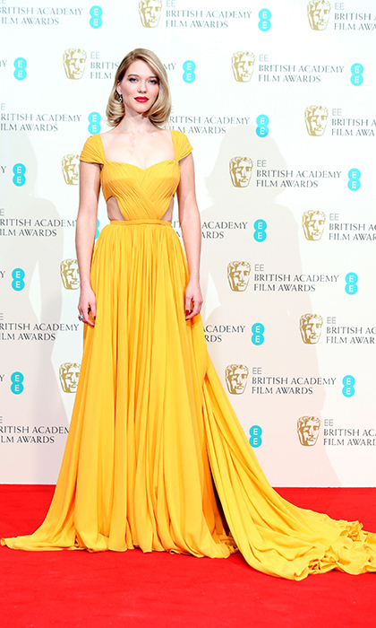 French star Lea Seydoux stunned in a dramatic Prada gown at the EE British Academy Film Awards in London.