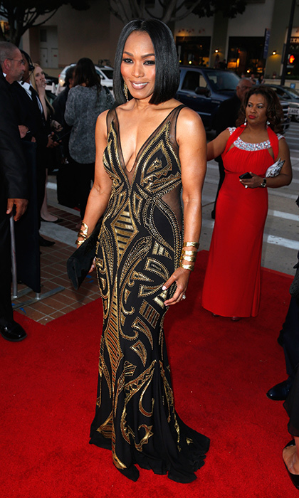 Angela Bassett was the centre of attention at the 46th NAACP Awards in an eye-catching Xcite Xtreme gown with semi-sheer accents.