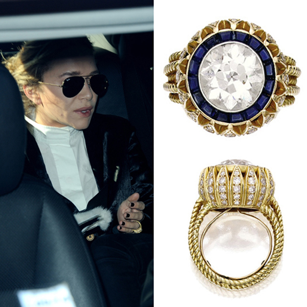 "One half of the Olsen twins, Mary-Kate, was the talk of Hollywood when she showed off her engagement ring from Olivier Sarkozy for the first time in March 2014. The ring, which featured a four-carat central diamond flanked by 16 sapphires and ""petals"" set with single-cut diamonds, was a fitting choice for Mary-Kate given her penchant for vintage clothing.