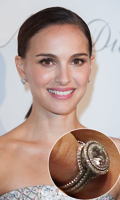 Benjamin Millepied designed Natalie Portman's engagement ring with the help of jeweller Jamie Wolf. The sparkler kept in line with Natalie's eco-friendly ideals, being made of a central antique round stone encircled by a halo of pavé conflict-free diamonds.