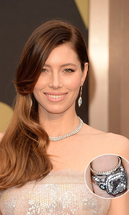 Mom-to-be Jessica Biel was given a stunning six-carat ring from her singer love Justin Timberlake. The central cushion-cut diamond is surrounded by two rows of smaller diamonds, but the most unique part of the ring belongs to the intricate band that features the Greek evil eye. The blackened platinum colour also gives the ring a vintage effect.