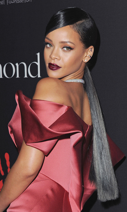 To celebrate her first annual Diamond Ball in 2014, Rihanna proved that a low pony is the definition of classy-chic. 