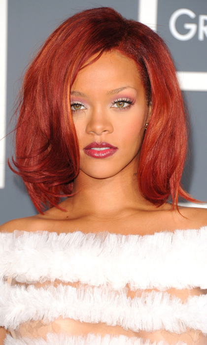 Rihanna paired sleek sophistication with the perfect crimson pout at the Grammy Awards in 2011. 