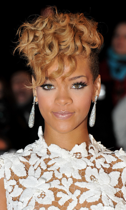 "For the 2010 NRJ Music Awards in Cannes, the ""Unapologetic"" singer cropped and curled her famous locks. 