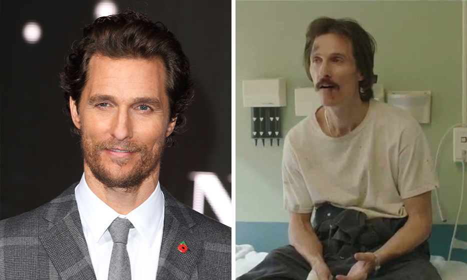 "For his turn as homophobic AIDS patient Ron Woodroof in Dallas Buyers Club, Matthew McConaughey– who is famous for his beefcake physique – lost 38 pounds of muscle by subsisting on just ""fish and a cup of vegetables"" for four months.