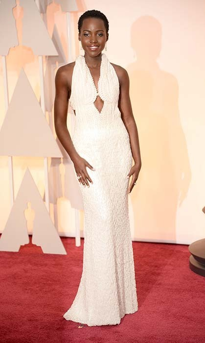 Lupita Nyon'go in custom Calvin Klein. Photo: Getty