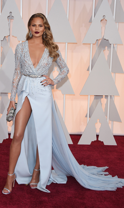 Chrissy Teigen in Zuhair Murad. Photo: Getty