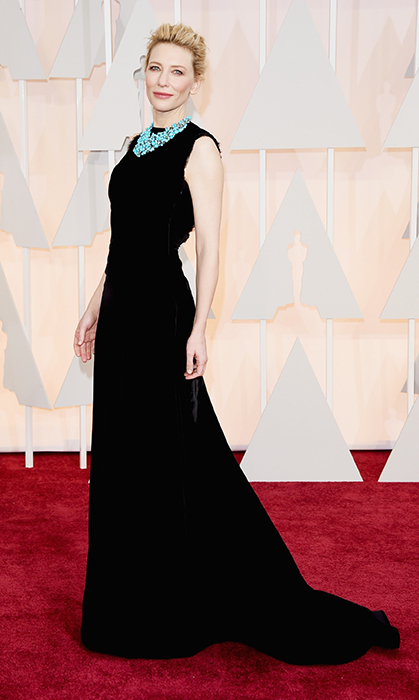 Cate Blanchett in a Margiela dress and and Tiffany & Co. necklace. Photo: Getty
