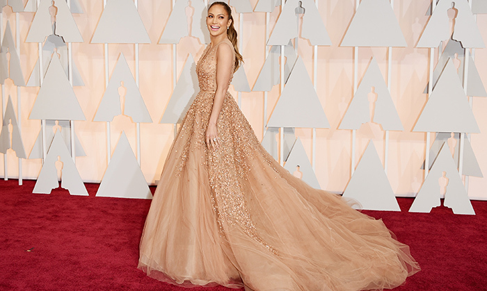 Jennifer Lopez in Elie Saab. Photo: Getty