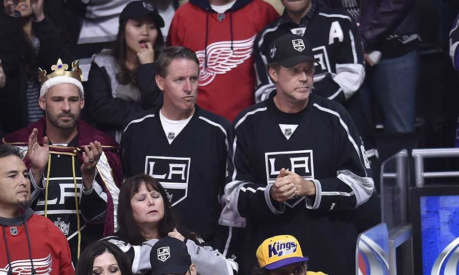 Funnyman Will Ferrell was serious as ever as the Detroit Red Wings took on the Los Angeles Kings at Staples Center. (Photo: Getty Images)