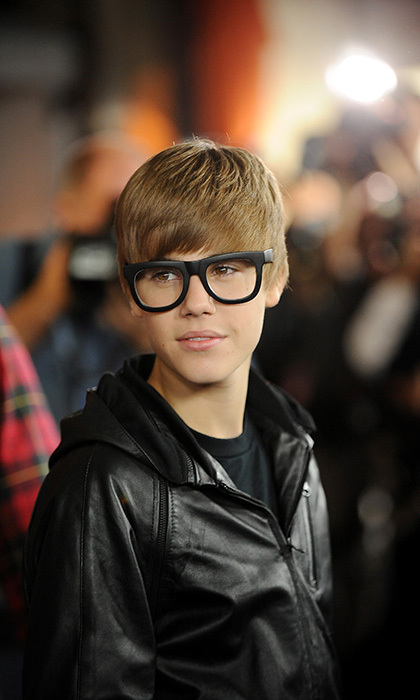 "Trying on a ""hipster"" look for size, the pop star arrived at the premiere of the Dreamworks film ""Megamind"" October 30, 2010 sporting a pair of thick-rimmed glasses. 