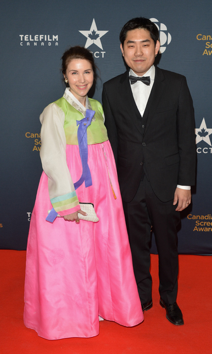 Albert Shin and his wife Niki in traditional Korean hanbok dress. Photo: George Pimentel.