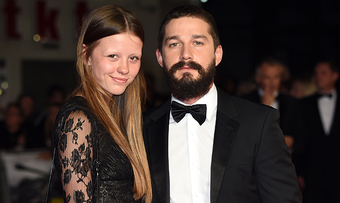 Mia with boyfriend Shia LaBeouf at the 58th BFI London Film Festival in 2014.