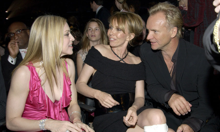 Sting's wife Trudie Styler introduced Madonna and Guy Ritchie at a dinner party.