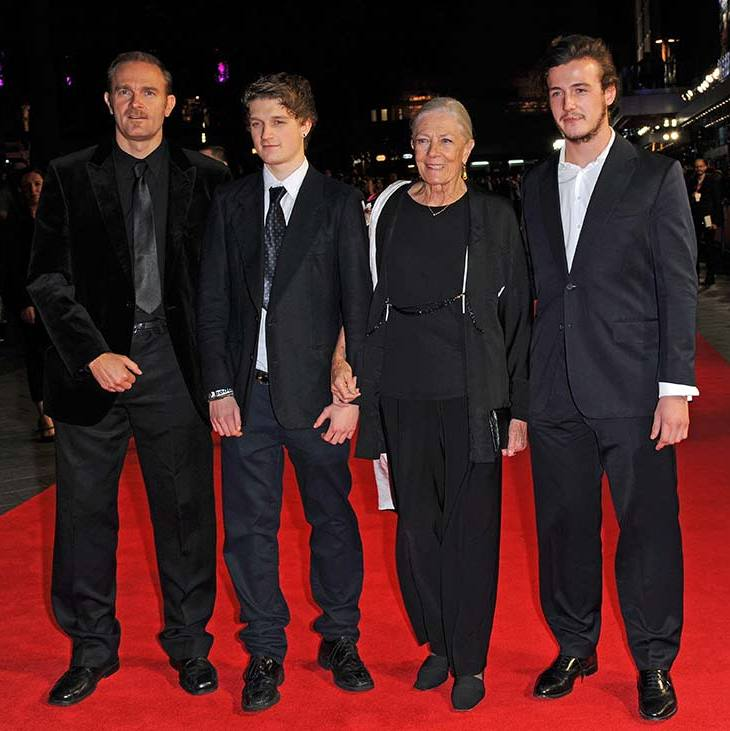 In 2014 with his uncle, cousin, and grandmother Vanessa Redgrave