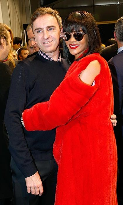 Rihanna and Dior's creative director Raf Simons. 
