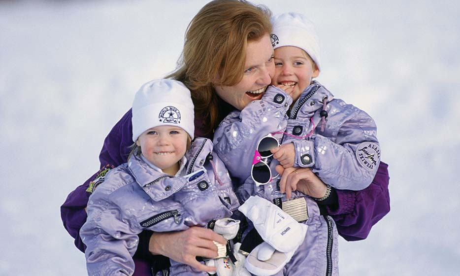 The sisters shared a sweet moment with mom Sarah during a ski holiday in Klosters.