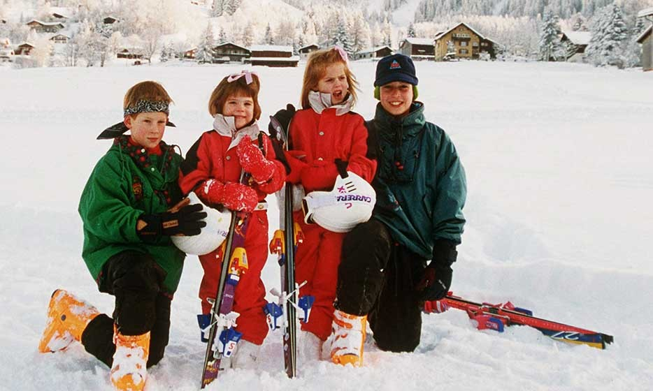The York sisters were pictured with cousins William and Harry during a family ski trip in Switzerland in 1995.