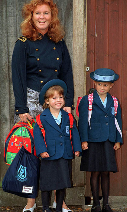 Eugenie couldn't have been more excited to attend her first day of school at Upton House in 1994. Her sister, however, seemed less enthused.