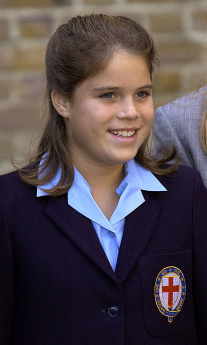 Smiling Eugenie was excited for the first day at her new school, St Georges, in Windsor, Berkshire, in 2001.  