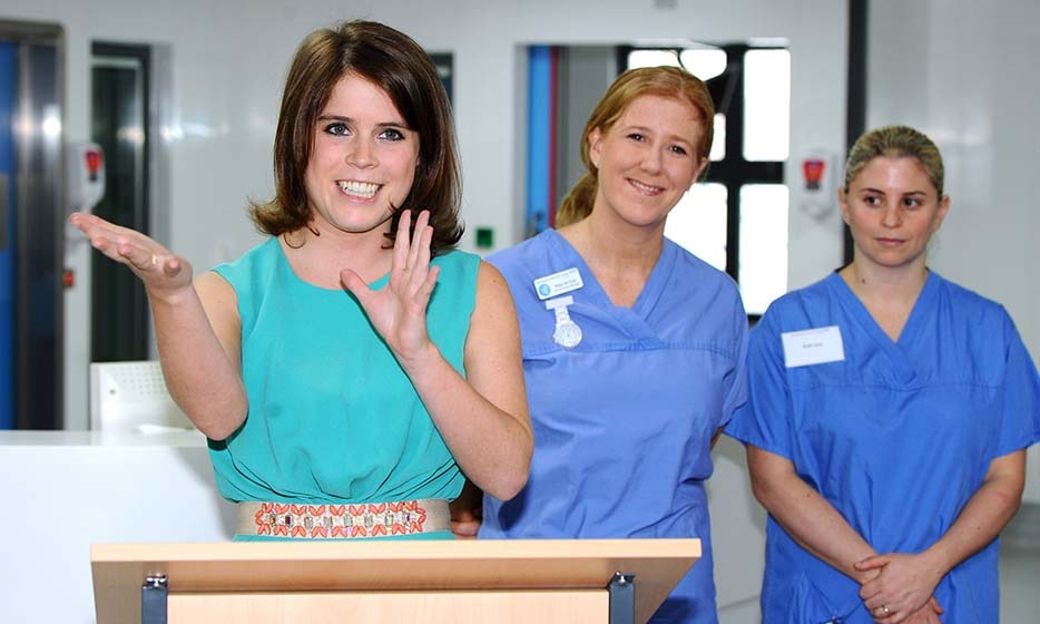 In 2013, Eugenie paid a visit to staff and patients at the Royal National Orthopaedic Hospital in London. Eugenie was born with scoliosis and was operated on at the RNOH when she was 12. 
