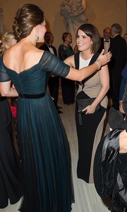 The Duchess of Cambridge gave her cousin-in-law a warm embrace at the St Andrews Anniversary Dinner in New York City in December 2014. 