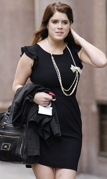 Wearing an LBD paired with a long statement necklace, the stylish royal arrived for a work placement in London in 2010.  