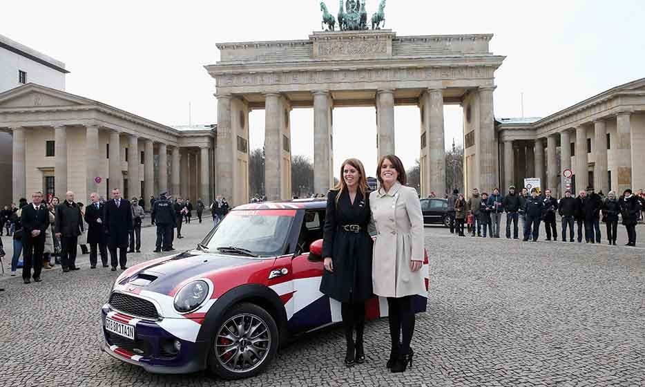 Promoting the GREAT initiative in Berlin, Germany, the royal sisters posed in in front of the Brandenburg Gate in 2013.