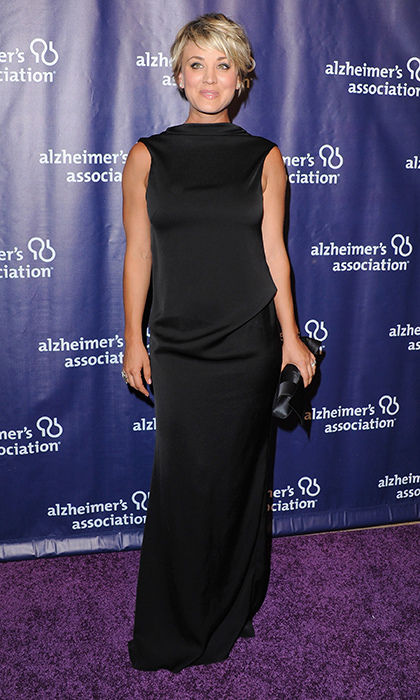 'The Big Bang Theory' star Kaley Cuoco turned heads in a satin open-back gown by Camilla and Marc paired with Aldo sandals and a Christian Louboutin clutch at an Alzheimer's Association benefit in Beverly Hills.