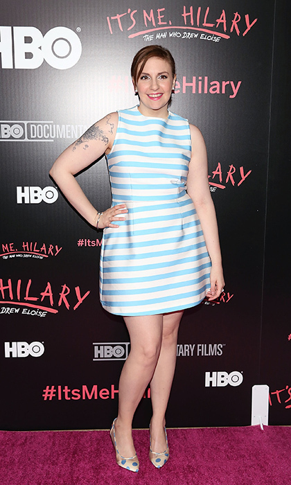 Lena Dunham stepped out at the New York screening of 'It's Me, Hilary: The Man Who Drew Eloise' in a summery, striped number by Tanya Taylor paired with Bionda Castana's Lama pumps.