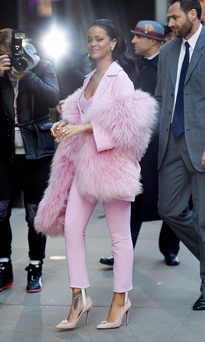 Rihanna channeled her inner Barbie girl during a stop at Good Morning America in a full look from Pascal Millet's fall 2015 collection and bejewelled Christian Louboutins.