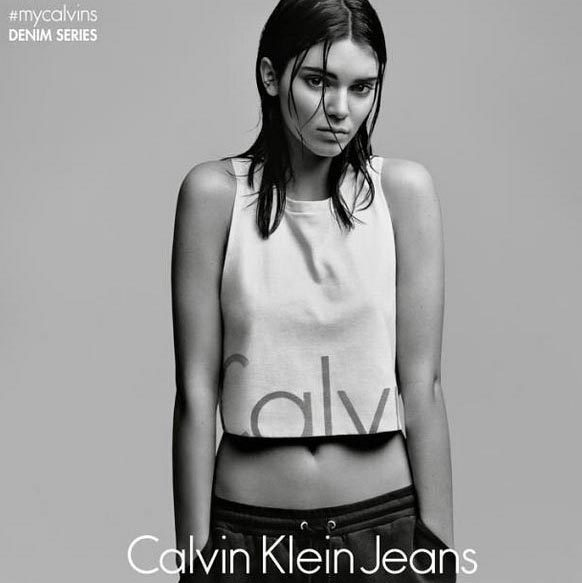 """Just me in #mycalvins. Proud to be the face of the new @calvinklein #mycalvins Denim Series!"" - Kendall Jenner 