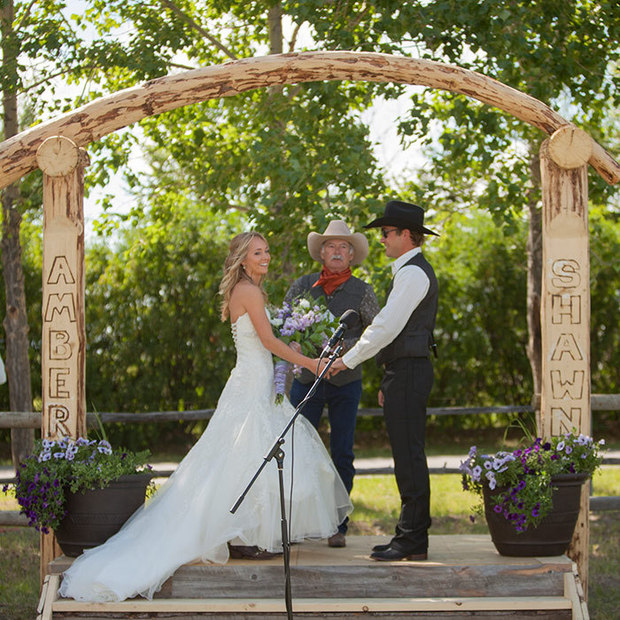 Wedding Pictures At The Altar: Heartland Actress Amber Marshall's Ranch Wedding