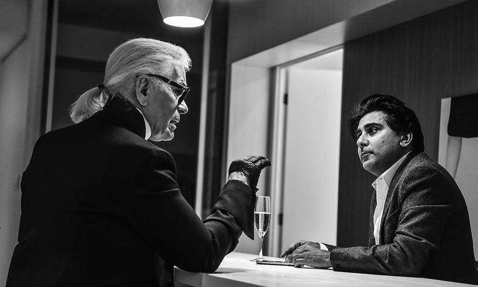 Shinan and Karl discussing a wide variety of topics, from Karl's millionaire cat Choupette to Jessica Chastain. Photo: George Pimentel Photography