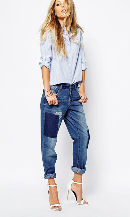 HBC, NOISY MAY Lotus Patched, Straight Leg Jeans, $69.00, thebay.com