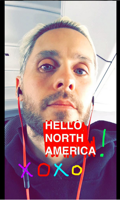 Jared took a playful snap from the airplane as he was touching down in Toronto. Photo © Twitter