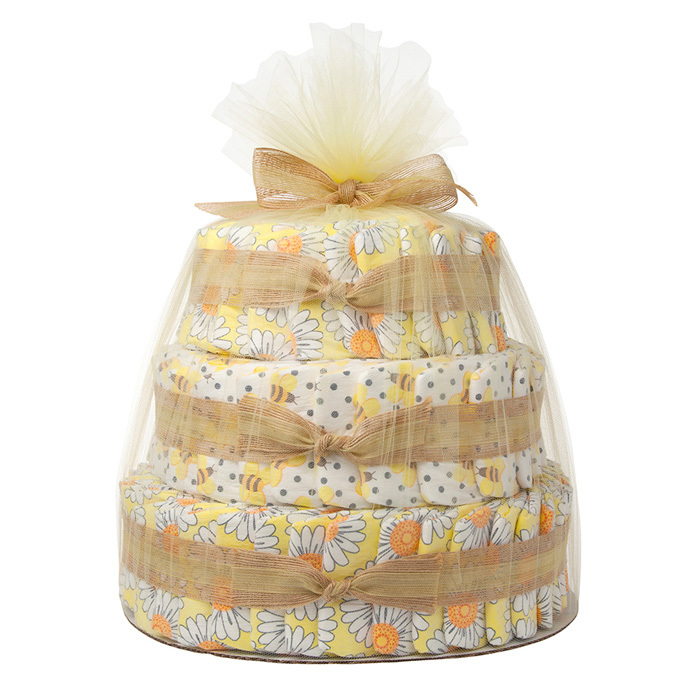 THIS CLEVER CENTREPIECE INCLUDES DIAPERS, LOTIONS, WIPES AND OTHER BABY BASICS