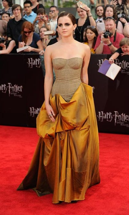 Making a style statement with this unusual number at the premiere of Harry Potter and the Deathly Hallows: Part 2 in July, 2011. 