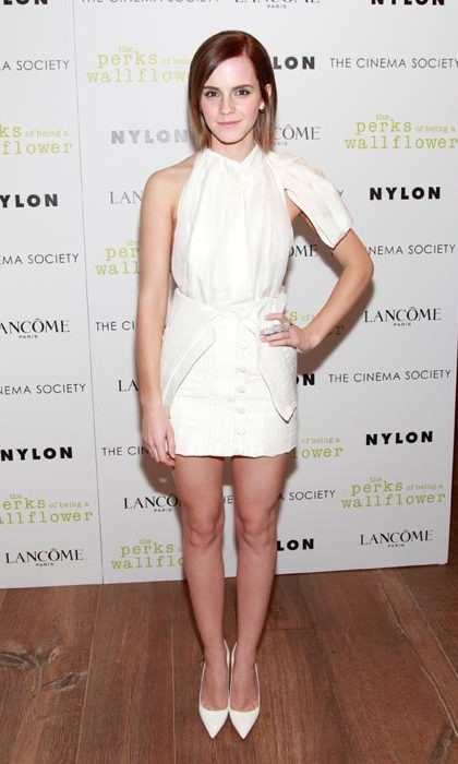 Wowing in white at a screening of her film The Perks Of Being A Wall Flower in September, 2012. 