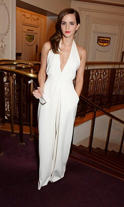 Turning heads in an edgy cream jumpsuit at the British Fashion Awards. 