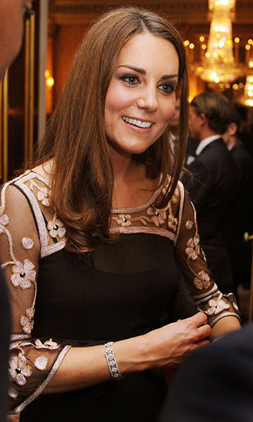 At a Buckingham Palace reception, Kate was pictured wearing a spectacular diamond bracelet, which – along with a pair of matching diamond earrings – are believed to have been a gift from Prince Charles. 