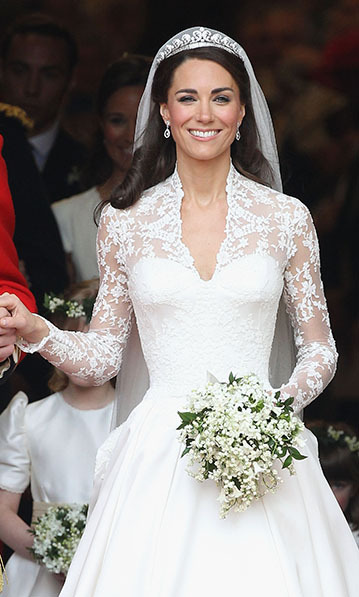 For the Royal Wedding, the Queen loaned her granddaughter-in-law the spectacular Cartier Halo tiara. Made in 1936 and purchased by the Duke of York (later King George VI) for his wife, Elizabeth's mother (also Elizabeth), the Queen had received it as an 18th birthday present, at which time she was still Princess Elizabeth. 