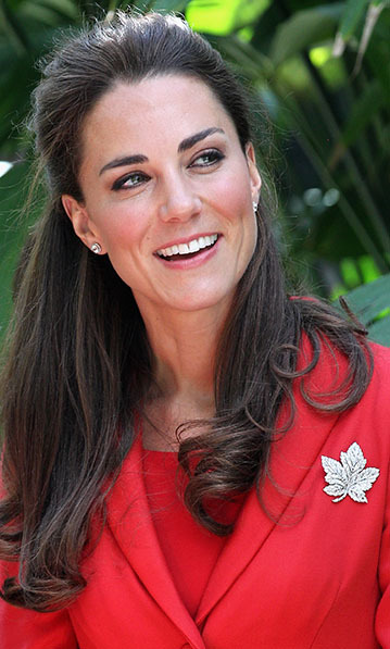 The Queen Mother's Maple Leaf brooch was the perfect accessory for Kate's patriotic red jacket when the duchess visited the Calgary Zoo in July, 2011. 